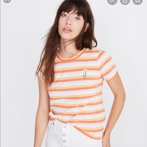 Madewell striped embroidered floral vintage Tee